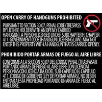 Texas OPEN Gun Carry Signs (30.07) ALUMINUM