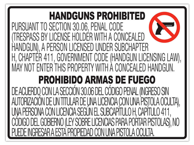 Texas CONCEALED Gun Carry Signs (30.06) WINDOW ADH