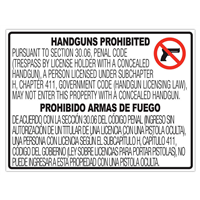 Texas CONCEALED Gun Carry Signs (30.06) PLASTIC