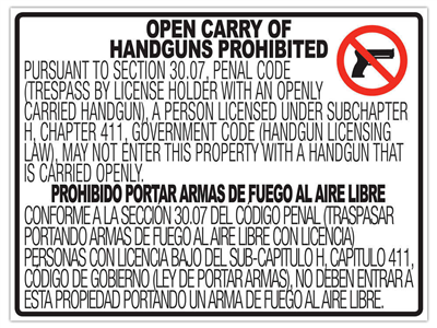 Texas OPEN Gun Carry Signs (30.07) PLASTIC